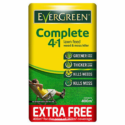 Evergreen Complete 4 In 1 Lawn Food Weed & Moss Killer 360m + 10% Fertiliser