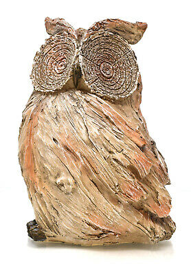 Wise Owl Carved Wood Effect Indoor Outdoor Garden Ornament Feature 22.5cm Gift