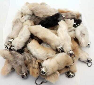 100 Natural Color Lucky RABBITS FOOT Keychains New (Oryctolagus Cuniculus)