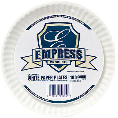 """Empress Uncoated Paper Plates, 9"""", White, 1200 Plates (E30300-00065)"""