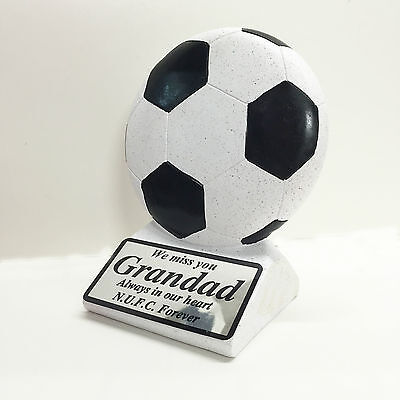 Black Graveside Football Memorial & Personalised Plaque - NUFC Fan Have Any Text