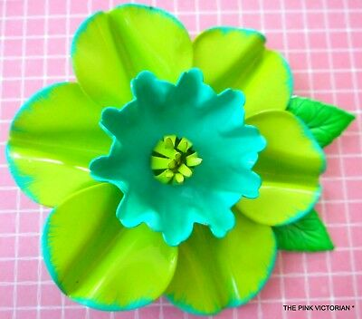 Lime Green Turquoise Blue Tropical Hibiscus Vintage Metal Flower Pin