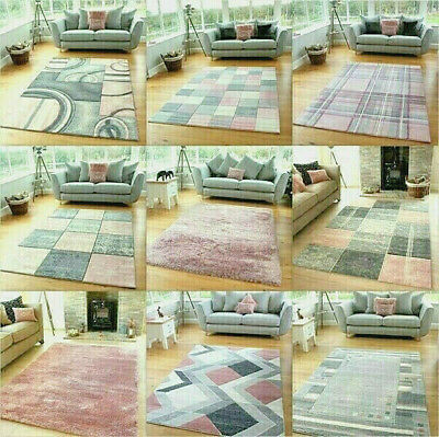 Rose Blush Pink Silver Modern Soft Thick Shag Rugs Small Extra Large Mats Cheap