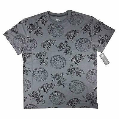 Game of Thrones Allover Printed House Sigils T-Shirt Short Sleeved Half - Grey
