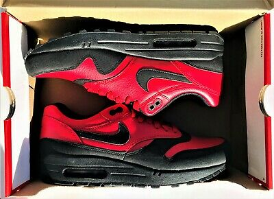 quality design 47c54 bb671 Nike Air Max 1 LTR Premium Running Shoes 705282-600 Gym Red Black Men s Size