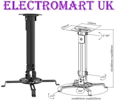 Universal Projector Ceiling Mount Extendable Bracket Up To 13.5Kg Black