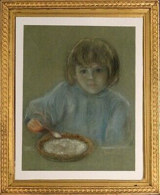 Rare ca.1965 Portrait of Young Girl Pastel Painting Titled/Signed with Frame