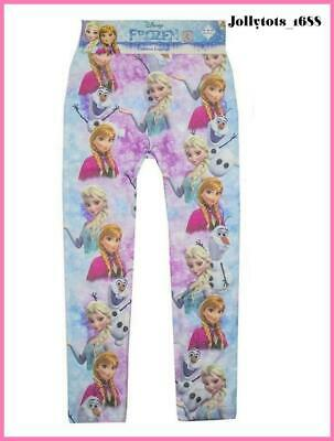 Girls Disney Frozen Leggings All Over Pattern Elsa Anna Olaf Character Leggings