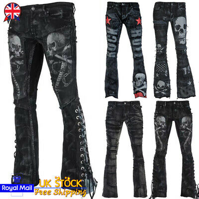 6381f7eb13ac3 UK Womens Punk Jeans Flared Trousers Skull Lace Studded Spike Gothic Denim  Pants