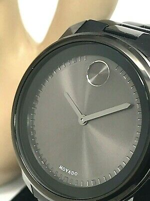 ba08434ef Movado Bold Black Dial Stainless Steel Band Swiss Quartz Men's Watch 3600471