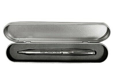 Personalised Engraved Silver Metal Ball Point Pen with Gift Case Black Ink Gift