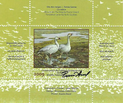 2009 Canada Quebec  Wildlife Habitat Conservation  -DQ59s signed   Mint NH