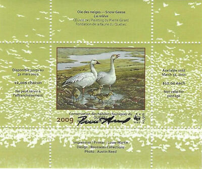 2009 Canada Quebec  Wildlife Habitat Conservation  WWF -DQ61s    Mint NH