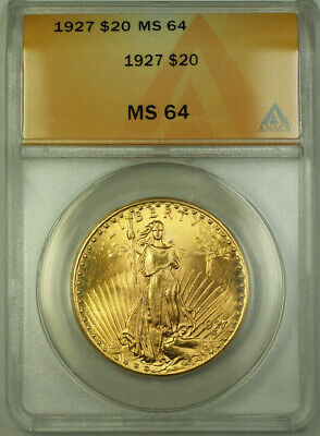 1927 St. Gaudens Double Eagle $20 Gold Coin ANACS MS-64