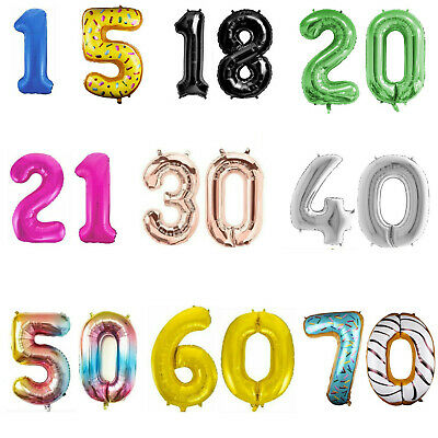 "34"" Giant Foil Number Balloons Birthday Party 1st/16/18/21/30/40/50/60/70/80th"