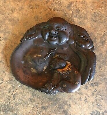 Fine Old Chinese Black Ink Stone Slab Hand Carving Buddha Signed Rare