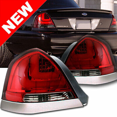 98 11 Ford Crown Victoria Red Euro Led Taillights W Chrome Trim