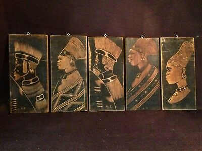 Set of 5 Vintage African Tribal impressive wooden wall etchings