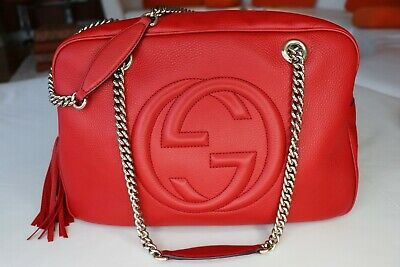4f5f93ecdff6 GUCCI SOHO TEXTURED Leather Shoulder Bag Deep Red / Retail $2400 ...