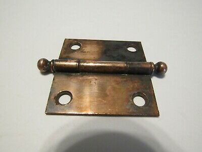 "One VINTAGE Ball Tip COPPER Plated Steel Door Butt Hinge 1-7/8"" X 1-7/8"""