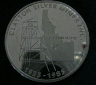 1985 Clayton Silver Mines Inc. Idaho 1 Troy Oz .999 Fine Round Proof Coin Medal