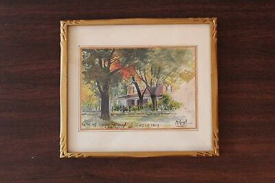 1924 W.M. Mitchell Watercolor Painting Hand Carved Wood Frame Belleville Ontario