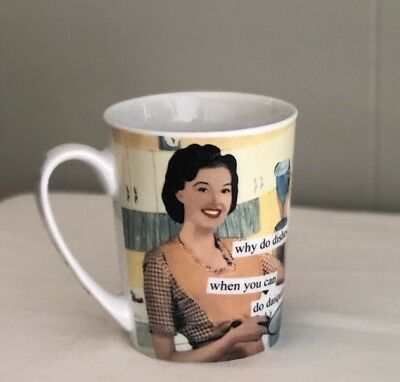 Anne Taintor Porcelain Mug Cup Retro Sassy Fun Gift - Why Do Dishes?