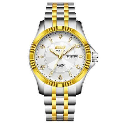 Fathers Day New Men Casual Stainless Steel Band Quartz Analog Round Wrist Watch