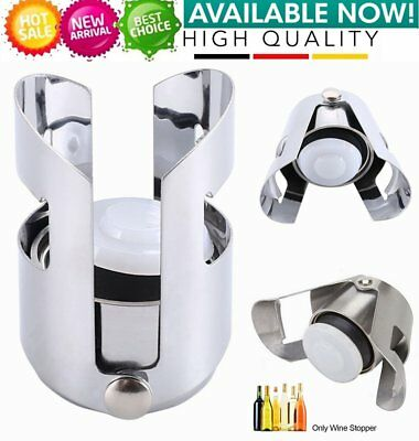 Reusable Stainless Steel Champagne Stopper Sparkling Wine Bottle Sealer FL