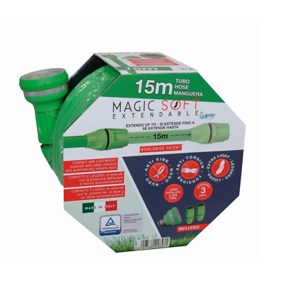 Expandable Flexible 15 Mt Garden Hose Magic Soft with 2 Fittings and 6...