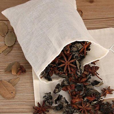 1pc Cotton Empty Draw String Teabags Herb Tea Bag Pouch Loose CO