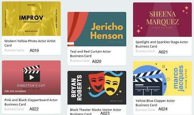 200 Actor Business Cards custom one sided printing with free design