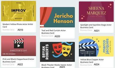 100 Actor Business Cards custom Two sided printing with free design