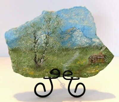 Mountain Cabin Scene Hand Painted On A Rock Signed by Artist On Metal Stand