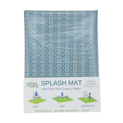 Highchair Mat Waterproof Splash Mat Made in Australia Blue Honeycomb