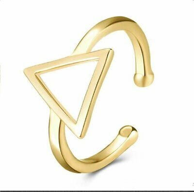 Adjustable Gold Plated Brass Open Plain Geometry Triangle Ring
