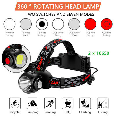 Waterproof 200000LM Headlamp Headlight T6+ COB LED Rechargeable Flashlight Torch