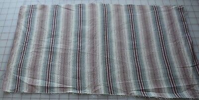 6312 Piece antique 1900's cotton fabric, red/gray stripe on white