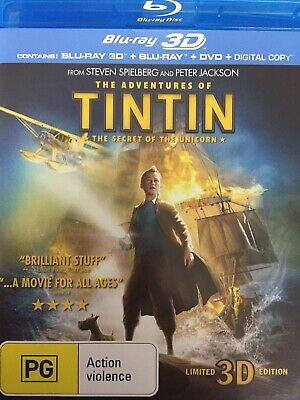 TINTIN & The Unicorn - BLURAY 2012  *2D Bluray + DVD Discs Only - No 3D Disc*