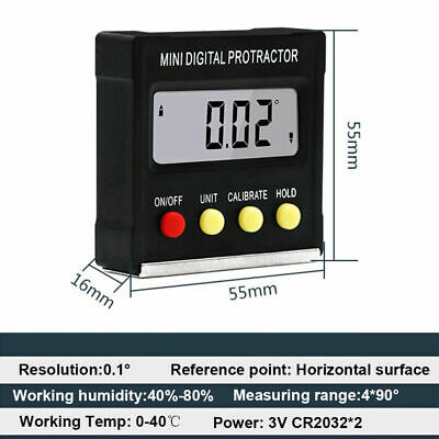 Precision Digital Protractor Gauge Level Angle Finder Inclinometer Magnet Base r