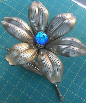 Vintage 1960's MCM BRASS FLOWER ORNAMENT  with  Removable Petals S Agudo STYLE .
