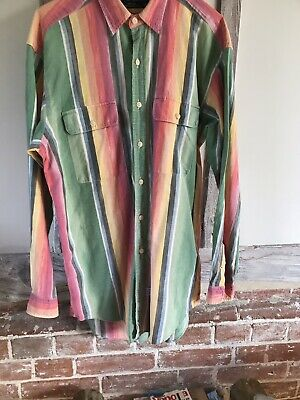 Genuine Polo Ralph Lauren Vintage Multicoloured Striped Shirt Size M Green Red