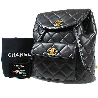 CHANEL Quilted Matelasse Backpack Black Leather Vintage France Authentic   M761 M f5193e152c156