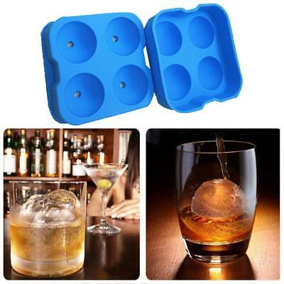 Round Ice Balls Maker Tray FOUR Large Sphere Molds Cube Whiskey Cocktails Blue