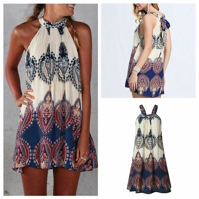 Soft Boho Style Women Summer Sleeveless Cocktail Mini Party Wear Short Dress