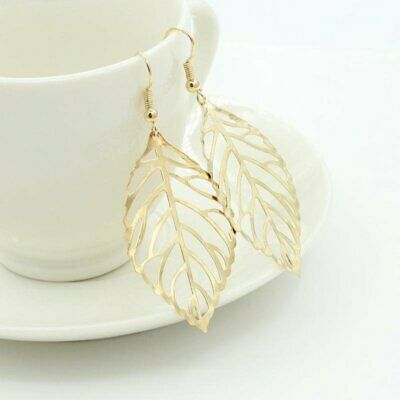 Gold metal hollow leaf earring