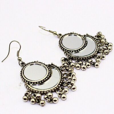 Plain Mirror Glass Indian Style Jewelry Silver Plated And Brass Earrings S30111 Earrings