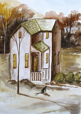 Black Cat house watercolor landscape kitten ACEO Giclee folk art print Criswell