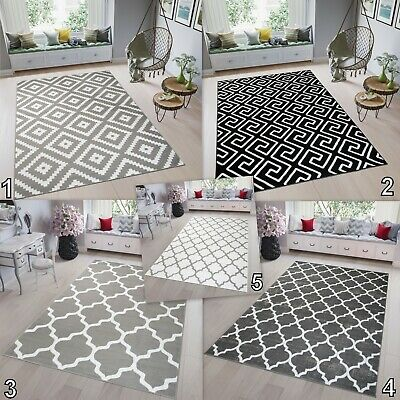 Modern TAPISO Trellis Rug Large Black White Grey High-Quality Carpet Soft Pile