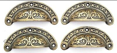 "4 Antique vtg. Style Victorian Brass Apothecary Bin Pulls Handles 3-7/16""w.  #A5"